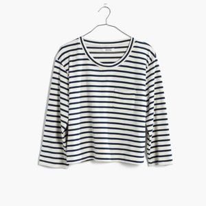 MADEWELL long-sleeve crop tee in linden stripe